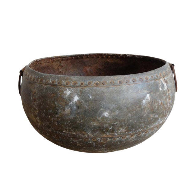 Rustic Riveted Iron Bowl - Image 1 of 2