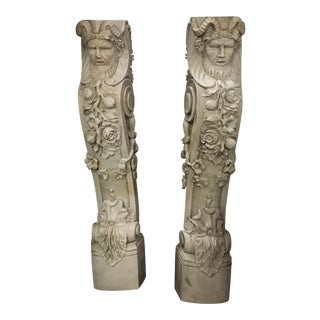 Hand Carved Italian Marble Satyr Mantels / Fireplace Surround Pieces - A Pair