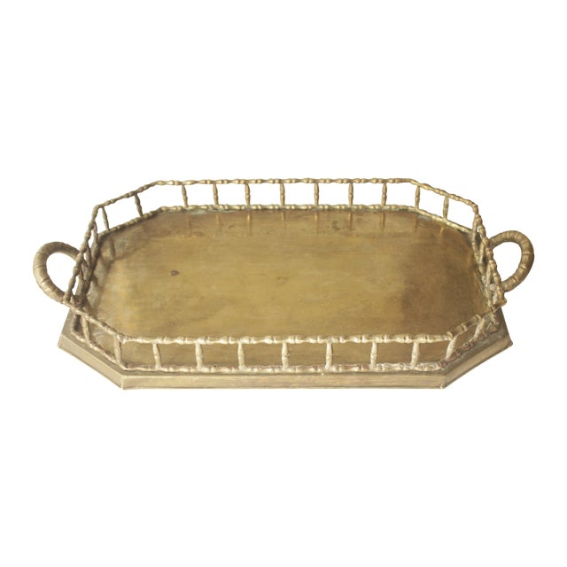 Image of Large Brass Faux Bamboo Tray