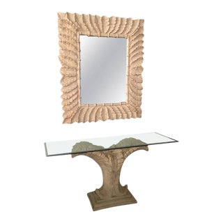 Tropical Palm Tree Faux Bamboo Console Table & Mirror - A Pair
