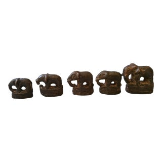 19th Century Vintage Elephant Opium Weights - Set of 5