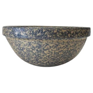 Monumental Sponge-Ware Pottery Mixing or Serving Bowl