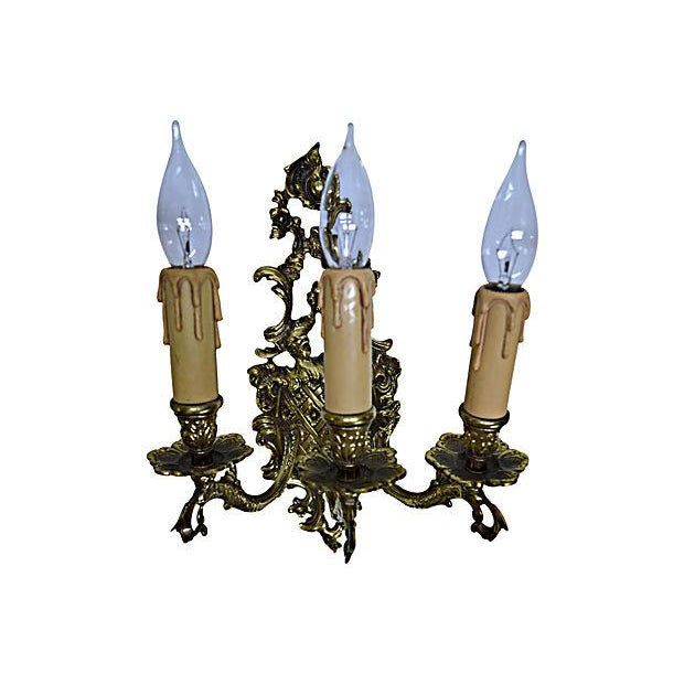 Light Coat of Arms Brass Sconce - Image 3 of 6
