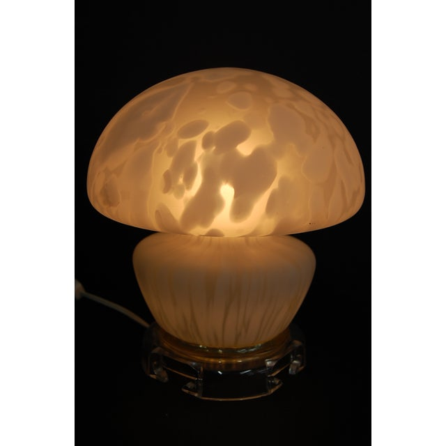 Vintage Frosted Murano Mushroom Lamp - Image 6 of 11