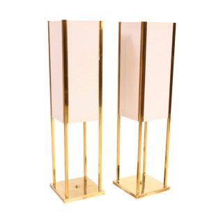 1950s American Modern Rectangular Brass Lamps