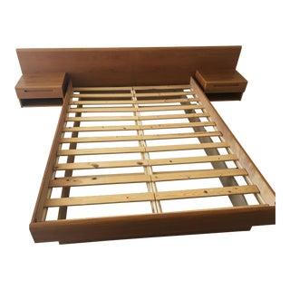 Danish Modern Teak Queen Platform Bed With Nightstands