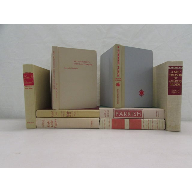 Image of Tan & Red Decorative Books - Set of 8
