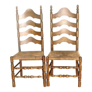 Maple Ladder Back Chairs - A Pair