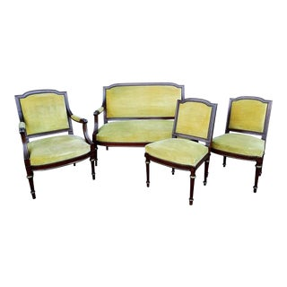 French Antique Napoleon Empire Parlor Set - Armchair Side Chairs and Canape Settee - 4 Pcs.