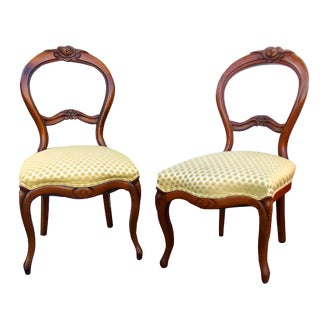 Antique Balloon Back Parlor Chairs - A Pair