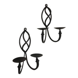 Black Wrought Iron Wall Double Candle Sconces - A Pair