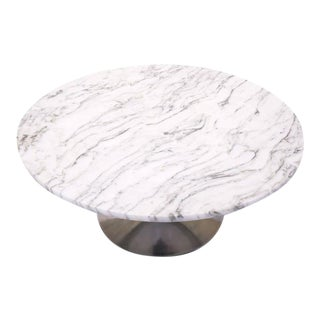 Marble and Aluminum Round Coffee Table in the Style of Saarinen for Knoll