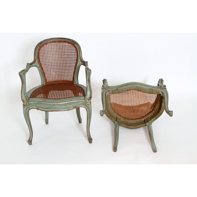 Set of 4 Italian Caned Polychrome Fauteuils - Image 9 of 11