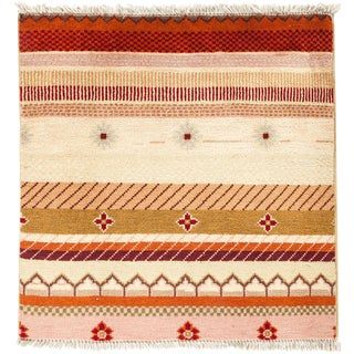 "Lori, Hand Knotted Square Rug - 2' 1"" X 2' 1"""