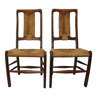 Pair of Walnut & Wicker Chairs by Richard Patterson c.1981
