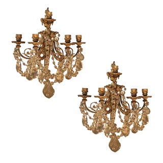 Antique French Bronze & Crystal Sconces - a Pair