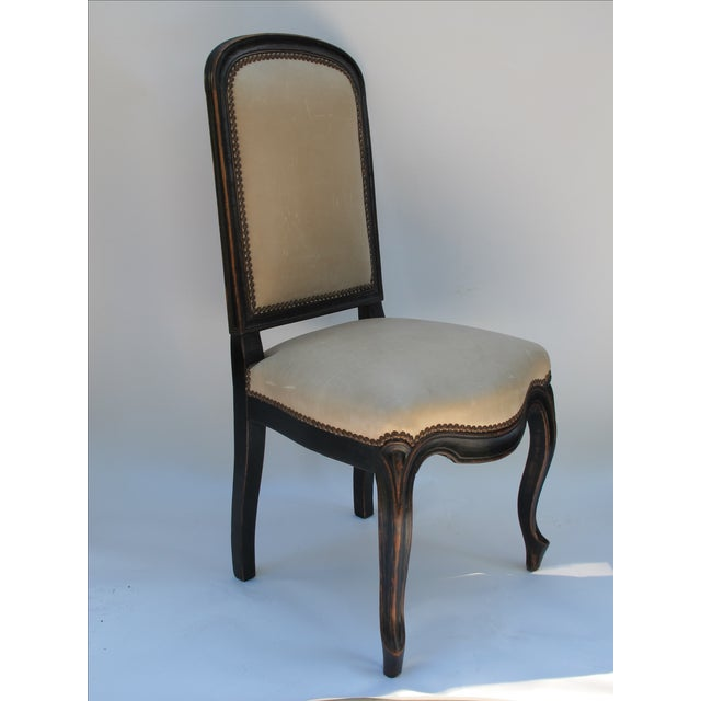 Cream Leather Spanish-Style Chairs - A Pair - Image 4 of 11