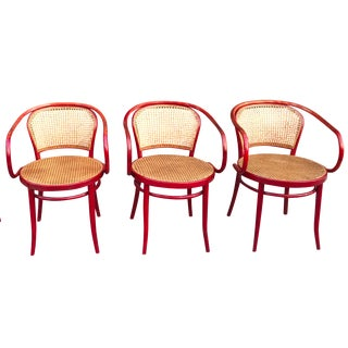 Thonet Attri. Rattan Dining Chairs - Set of 3