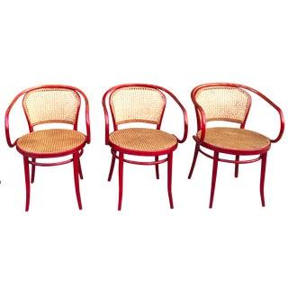 Thonet Attri. Rattan Dining Chairs - Set of 3