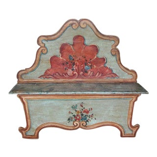 A Fanciful Venetian Baroque Style Pine Polychromed Highback Bench