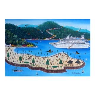 1991 Prefete Duffaut Haitian Artist Cruise Ship Oil Painting