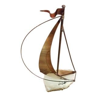 DeMott Mid-Century Brutalist Brass Sailboat