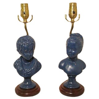 Victorian Style Figurine Lamps - Pair