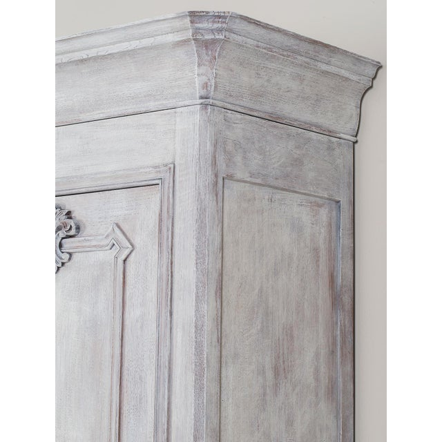 Antique French Painted Oak Louis Philippe Buffet a Deux Corps Cabinet circa 1850 - Image 4 of 11
