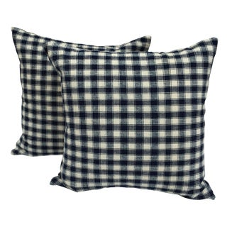 French Blue & White Plaid Pillows - A Pair