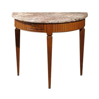 French Demilune Console Table from the 1840s with Marble Top and Tapered Legs