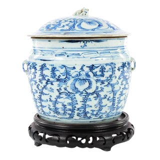 Chinese 19th C. Blue & White Porcelain Ginger Jar With Stand
