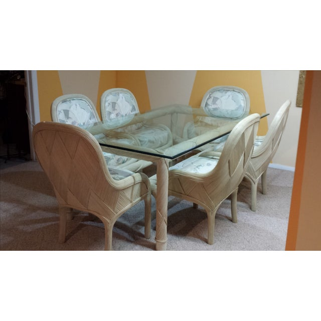 Image of Ficks Reed Rattan Table and Chairs - Set of 7