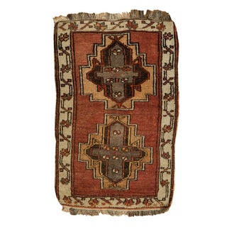 "Vintage Turkish Oushak Mat - 1'10"" x 2'9"""