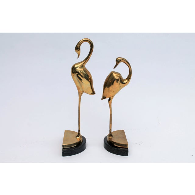 Image of Brass Flamingo Bookends- A Pair