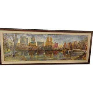 Large Watercolor Painting of Central Park