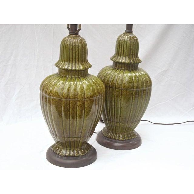 Hollywood Regency Ginger Jar Green Lamps - Pair - Image 8 of 8