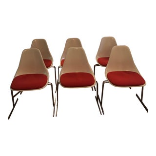 Set of 6 1960's Fiberglass Dining Chairs With Chrome Legs in the Style of Saarinen