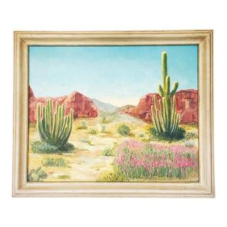 Large Vintage Desert Landscape Oil Painting