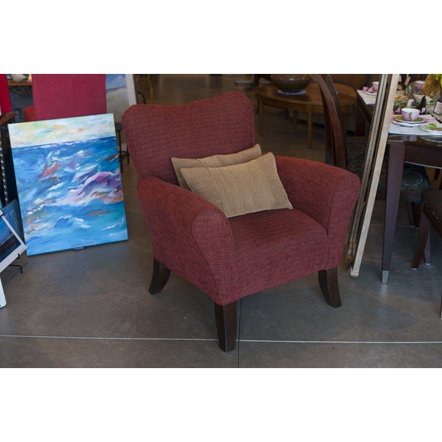 Casual Red Upholstered Accent Chair - Image 4 of 4