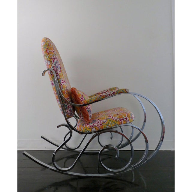 Vintage Mid-Century Modern Rocking Chair Upholstered in Brunschwig & Fils Fabric - Image 2 of 8