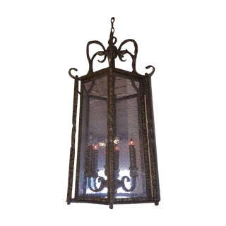 Large Wrought Iron Foyer Hanging Light