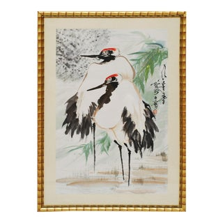 Large Japanese Cranes Watercolor Painting