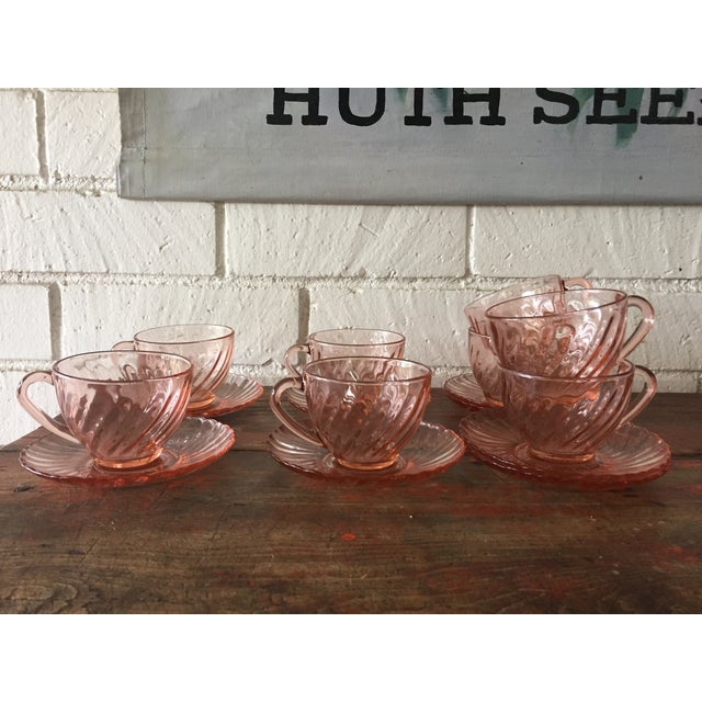 French Rosaline Tea Cups & Saucers - Set of 16 - Image 2 of 5