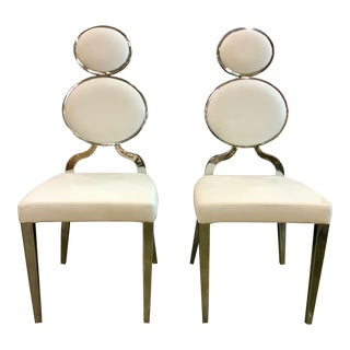 Caracole Modern White Leather & Chrome Chairs - A Pair