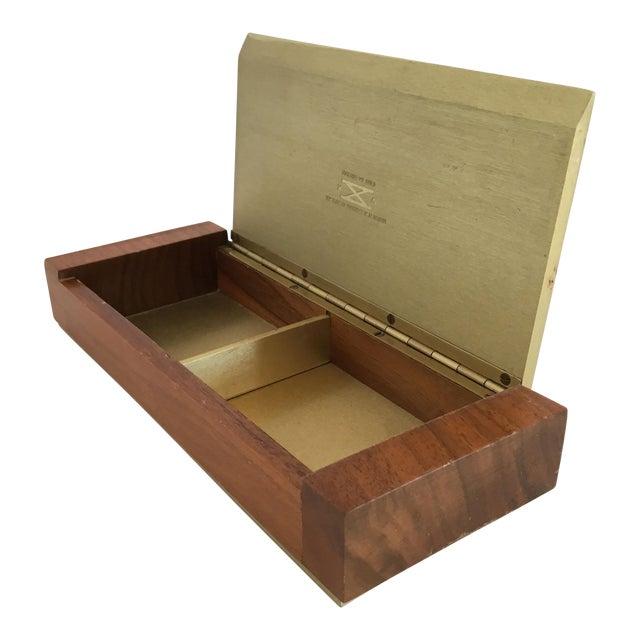 Mid-Century Modern Gold Aluminum and Wood Box - Image 1 of 11