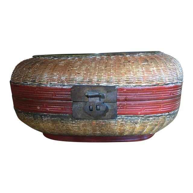 Vintage Chinese Bamboo Sewing Basket - Image 1 of 11