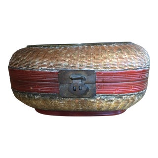 Vintage Chinese Bamboo Sewing Basket