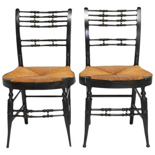 19th Century Ball-Back Hitchcock Chairs- A Pair