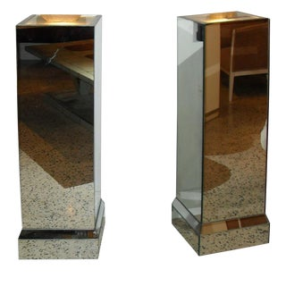 Art Deco Mirrored Pedestals Lights - A Pair