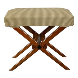 Art Deco X-Frame Upholstered Stool